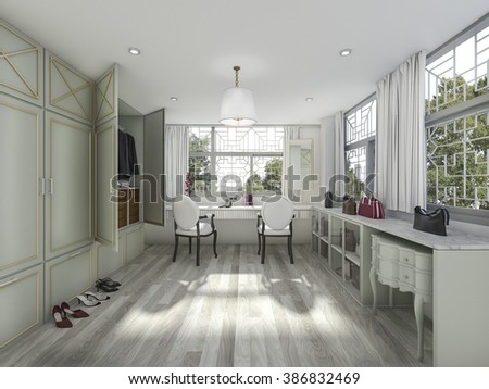 3d rendering parquet floor make up and dressing room