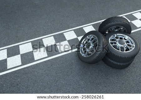 3D rendering Pile of wheels on the asphalt with car race signage - stock photo