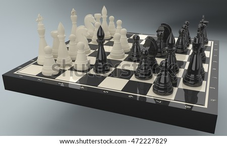 3d rendering porcelain chessmen on glossy chessboard. Development of Nimzovich-Larsen attack, Indian variation