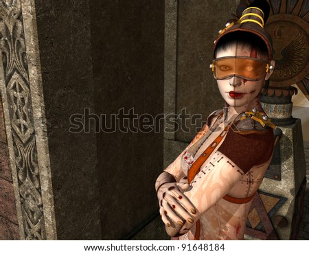 3D Rendering Portrait of a cyborg girl