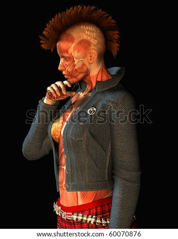 3D Rendering Punk Girl Muscle - stock photo