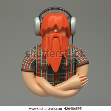 3d rendering. Quietly young man with overgrown red beard listening to music with big headphone. Cartoon lumberjack style character. Cute figure isolated on grey background.