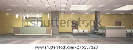 3d Rendering Reception Area - stock photo