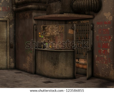 3D Rendering reception in an old hotel - stock photo