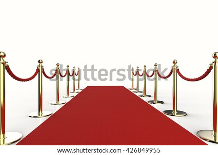 3d rendering red carpet with rope barrier - stock photo