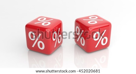 3d rendering red cubes for discount on white background