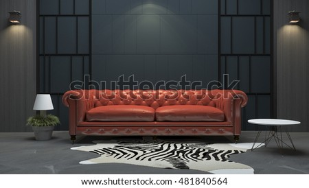 Beautiful D Rendering Red Leather Sofa In Loft Style Living Room With Loft  Sofa