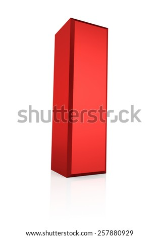 3d rendering red letter I isolated on white background  - stock photo