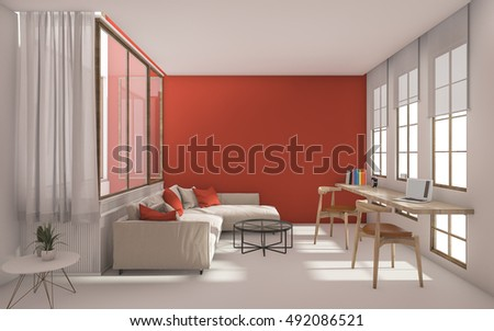3d rendering red modern livingroom with daylight from window