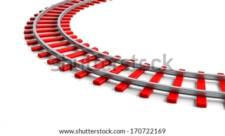3D rendering red railway track, isolated on white background - stock photo