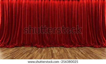 3d rendering red theater and cinema curtain with parquet floor by Sedat SEVEN - stock photo