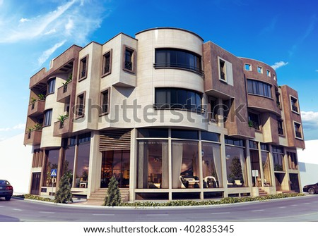 3d rendering - residential complex - main view - stock photo