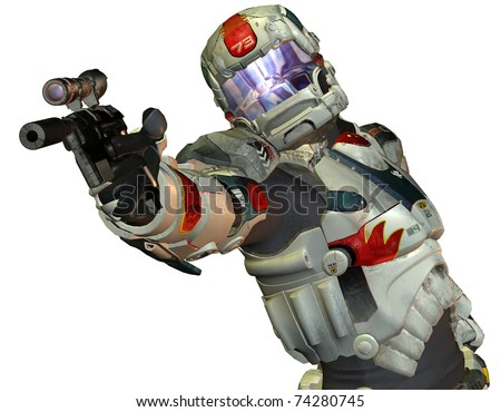 3D Rendering Robot warriors from the future - stock photo