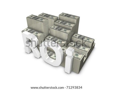 3d rendering, ROI; Return on Investment. isolated on white. - stock photo