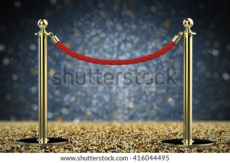 3d rendering rope barrier with dark background - stock photo