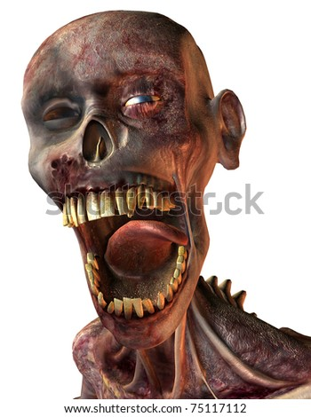 3D Rendering rotten head of a zombie - stock photo
