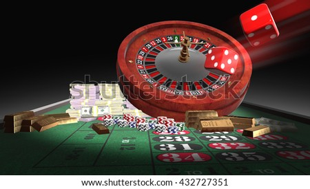 3D rendering roulette table, golds, chips,moneys, dice, with dept of field zoom.