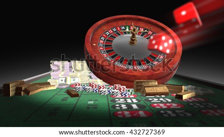 3D rendering roulette table, golds, chips,moneys, dice, with dept of field zoom. - stock photo