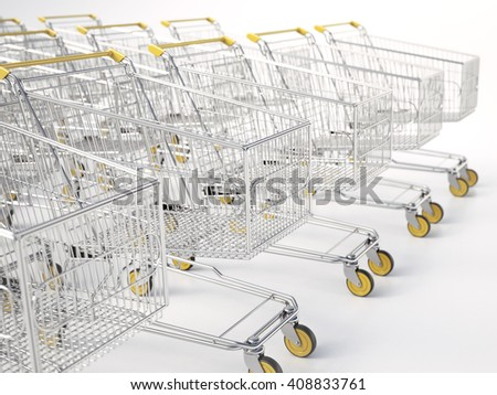 3d rendering. Rows of shopping carts on car park - stock photo