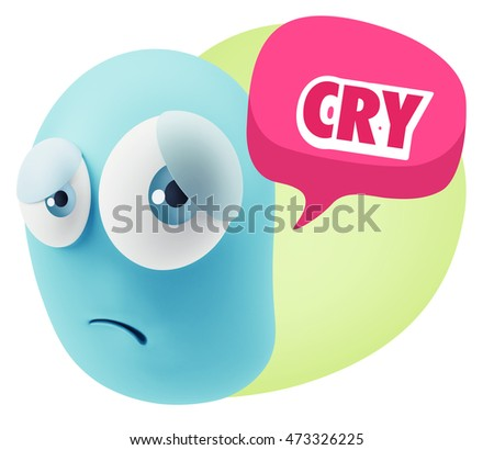 3d Rendering Sad Character Emoticon Expression saying Cry with Colorful Speech Bubble.