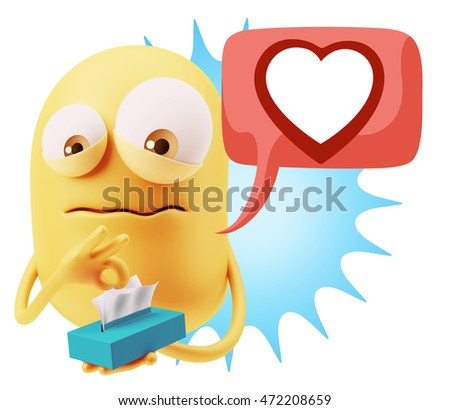 3d Rendering Sad Character Emoticon Expression saying Heart Shape with Colorful Speech Bubble.