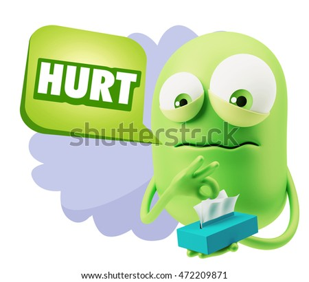 3d Rendering Sad Character Emoticon Expression saying Hurt with Colorful Speech Bubble.