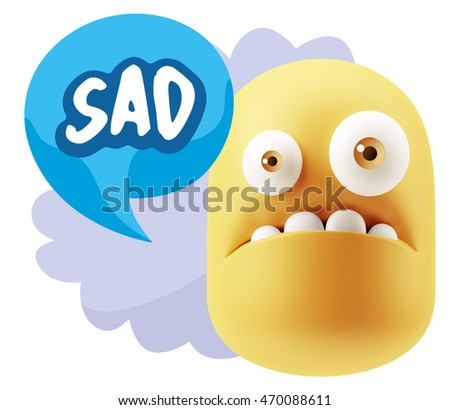 3d Rendering Sad Character Emoticon Expression saying Sad with Colorful Speech Bubble.