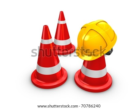 3d rendering, Safety yellow hat and cones. Isolated on white background.