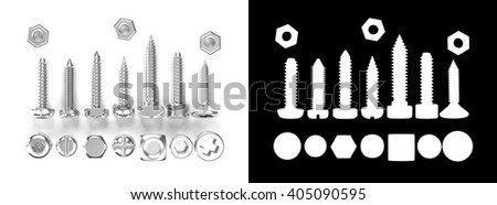 3D rendering Screw heads collection isolated on white with alpha channel.
