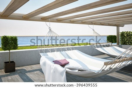 3D rendering Sea/Ocean Paradise View on Terrace with Hammock Chairs - stock photo