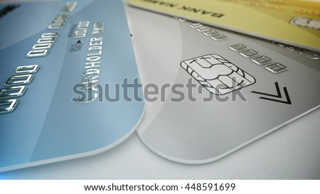3d rendering. Set of color credit cards isolated on white background. Shopping Concept.