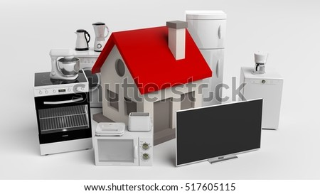 3d rendering set of home appliances and a small house