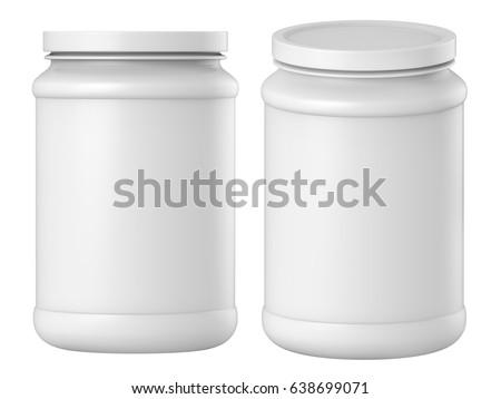 3 D Rendering Set Plastic Jar Lid Stock Illustration 638699071