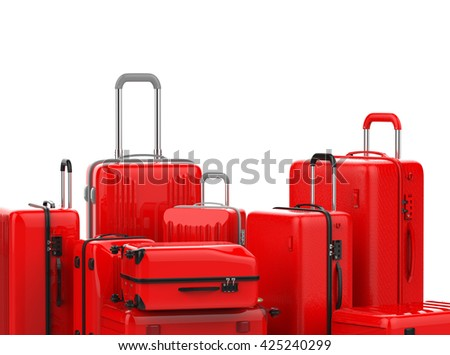 3d rendering set of red luggages on white background - stock photo