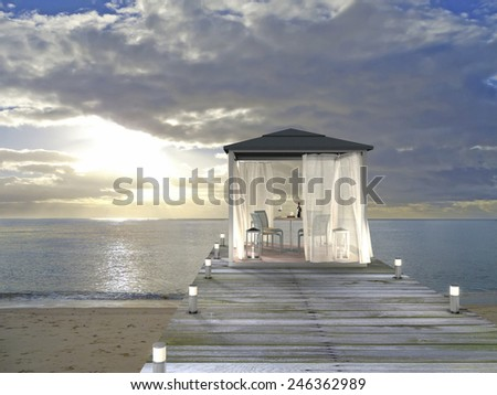 3D rendering showing a fictitious pavilion at the beach - stock photo