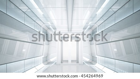 3d rendering Sifi lab in white space with the blue power