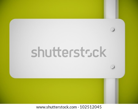 3d rendering signboard and green wall background