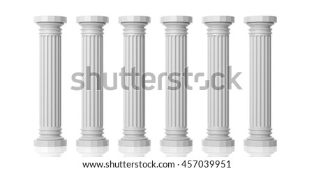 3d rendering six white marble pillars on white background