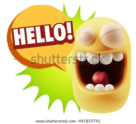 3d Rendering Smile Character Emoticon Expression saying Hello with Colorful Speech Bubble.