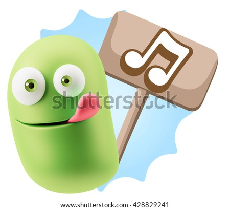 3d Rendering Smile Character Emoticon Expression saying Music Note Icon with Colorful Speech Bubble.