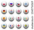 3D Rendering Soccer balls with flag pattern, European Soccer Championship Group A to D - stock photo