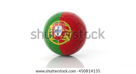 3d rendering soccer football ball, Portugal flag