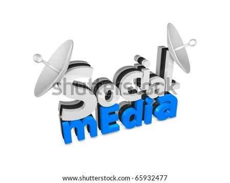 3d rendering. Social media 3d text concept, isolated on white background. - stock photo
