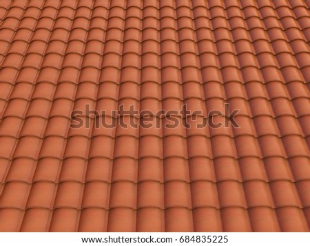 3d Rendering Spanish Roof Tiles