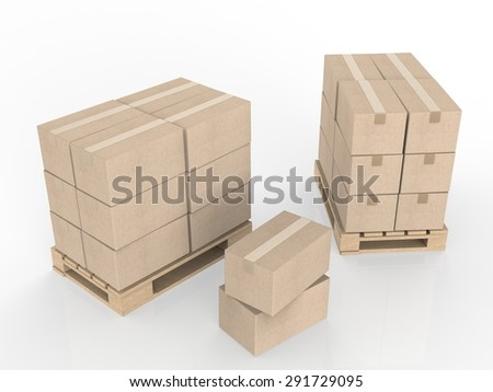 3d rendering stack of storage boxes  - stock photo