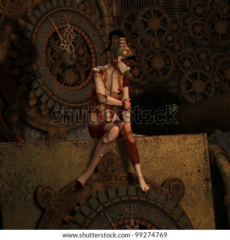 3D Rendering Steampunk Five to Twelve