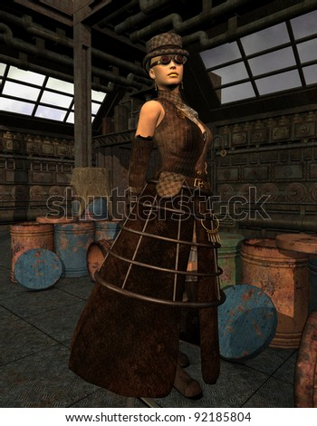 3D Rendering Steampunk Lady in an old warehouse - stock photo