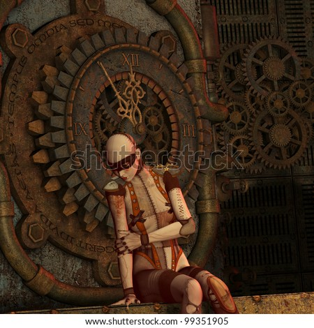 3D Rendering Steampunk thought at the time - stock photo
