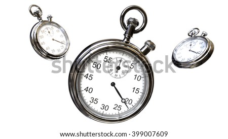 3D rendering.  Stopwatch and time - stock photo