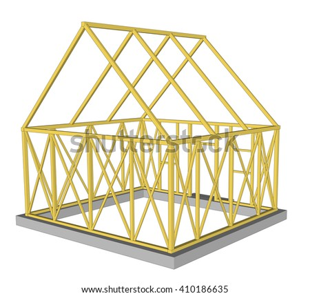 3d rendering Structure of house in construction. Illustration  - stock photo